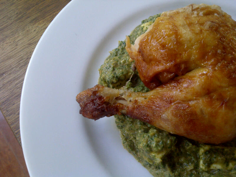 Low-carb dinners: Roast chicken with saag paneer