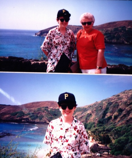 "Mum and I in Hawaii. I have no idea why the airhostess asked mum if her ""son was over 18"" on the flight home."