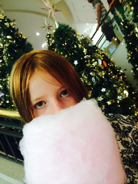 The eldest with her fairy floss Christmas beard