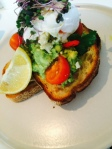 I had this yummy concoction: smashed avocado and feta with a poached egg on top.