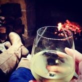 We spent a very cosy hour by the fireplace sipping wine one evening.
