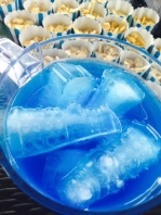 Doctor Who punch: lemonade with Tardis blue food colouring and dalek ice cubes.