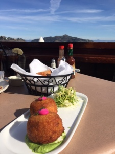 Crab cakes with a view.