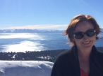 A happy snap as we first saw Lake Tahoe.