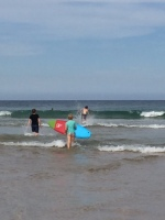 We headed down to Freshwater to test out the youngest's new surfboard.