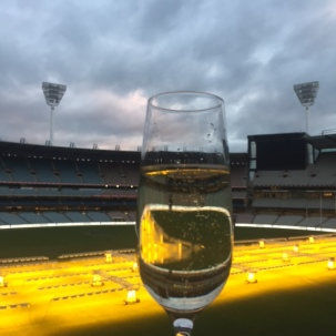My first visit to the MCG ... with a glass of Chandon!