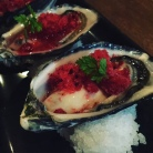 Gorgeous oysters with raspberry granita at a bar called Hercules Morse.