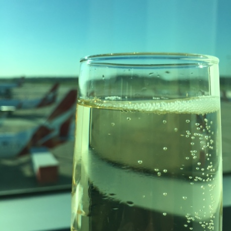 A farewell glass of champers in the business class lounge.