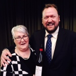 drinks CEO Sandra Przibilla with Angus Barnes, National Chair, Communicators of Australia, and his Jacob's Creek Wines Reserve Barossa Riesling, which won The Douglas Lamb Perpetual Trophy for Best Riesling.