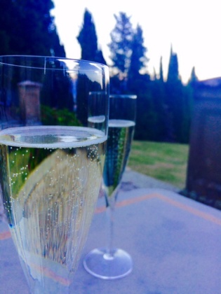 A soothing prosecco on the terrace of Villa Campestri when we returned foot-sore from Florence.