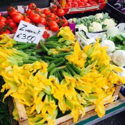 Zucchini flowers at the market.