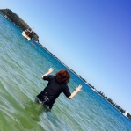 Me squealing at the cold water.