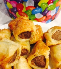 Homemade sausage rolls - super easy, just chevaps from Woolies wrapped in pastry