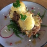 The next morning I dragged DD to be brutalised at my pump class. Then we blew all the hard work eating THIS - hash browns with pulled pork, poached eggs and hollandaise.