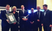 That's my dazzling new boss with the blonde hair second from the left. She presented all the awards.