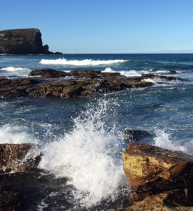 Inadvertent view of the collapsed Avalon headland while photographing sea spray.