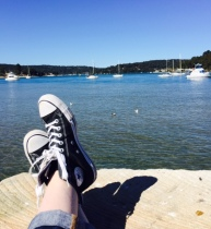 Feet up at lunch with a fabulous view.