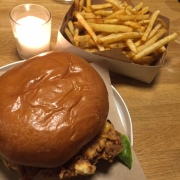 Netball dinner food. The fried chicken burger was a looooong way from diet food ...