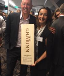Jeff presented Judy with a three-litre bottle of Mumm for being top fundraiser of the year at drinks for ANZGOG. Apparently it doesn't fit in the fridge and needs to be chilled in a bathtub.