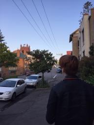 The eldest walking to church.