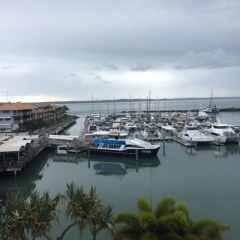 View from Hervey Bay hotel room of our whale watching boat ... convenient!