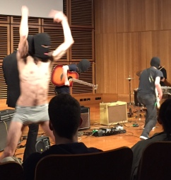 This bloke jumped around in his undies during a thrashy electric guitar number.