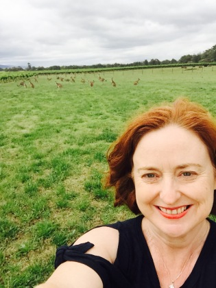 The closest I came to a kangaroo selfie - they're the little dots over my shoulder.