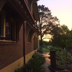The sun beginning to set.