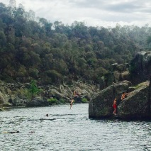 Kids diving into the Gorge.