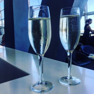 A couple of glasses of sparkling in the Virgin lounge before departure.