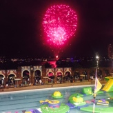 Fireworks with the inflatable in the foreground. Kid heaven.