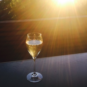 A glass of sparkling Chandon in the late afternoon sun at Barangaroo House