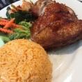 Crispy chicken with tomato rice.