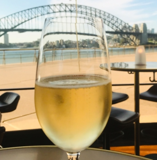 Presecco for starters with a fabulous view.
