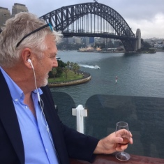 Not a bad view for DD's business call, Starward whisky in hand ...