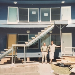 My dad and my ex outside the asbestos palace - a block of four units - I bought and renovated in Merewether for $375,000 around 2001. Should have held onto it, would be worth a motza now.