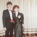 With my first boyfriend before my high school formal - my dress was very unconventional at the time, everyone else was in pastel taffeta.